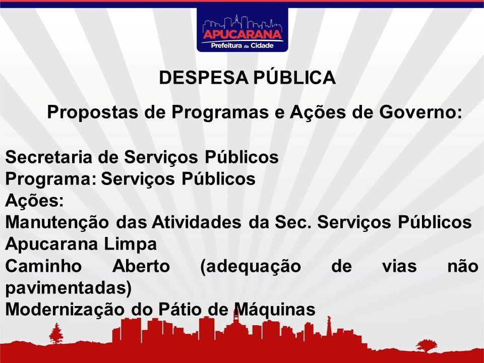 Propostas de Programas e Ações de Governo: Secretaria de Serviços Públicos Programa: Serviços Públicos Ações: Manutenção das Atividades da Sec. Serviç