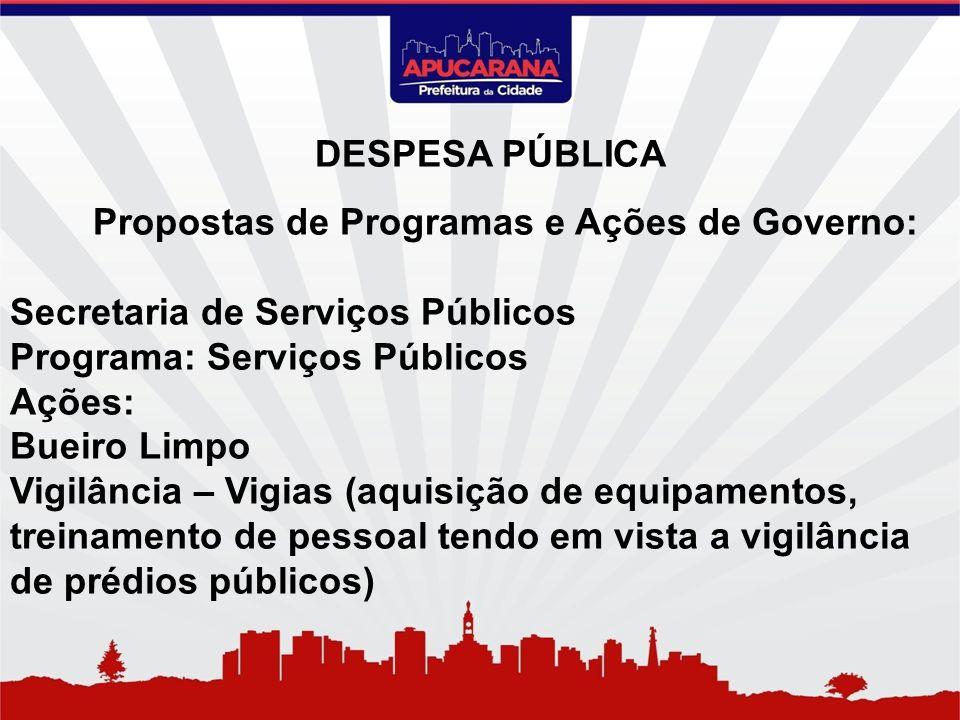 Propostas de Programas e Ações de Governo: Secretaria de Serviços Públicos Programa: Serviços Públicos Ações: Bueiro Limpo Vigilância – Vigias (aquisi