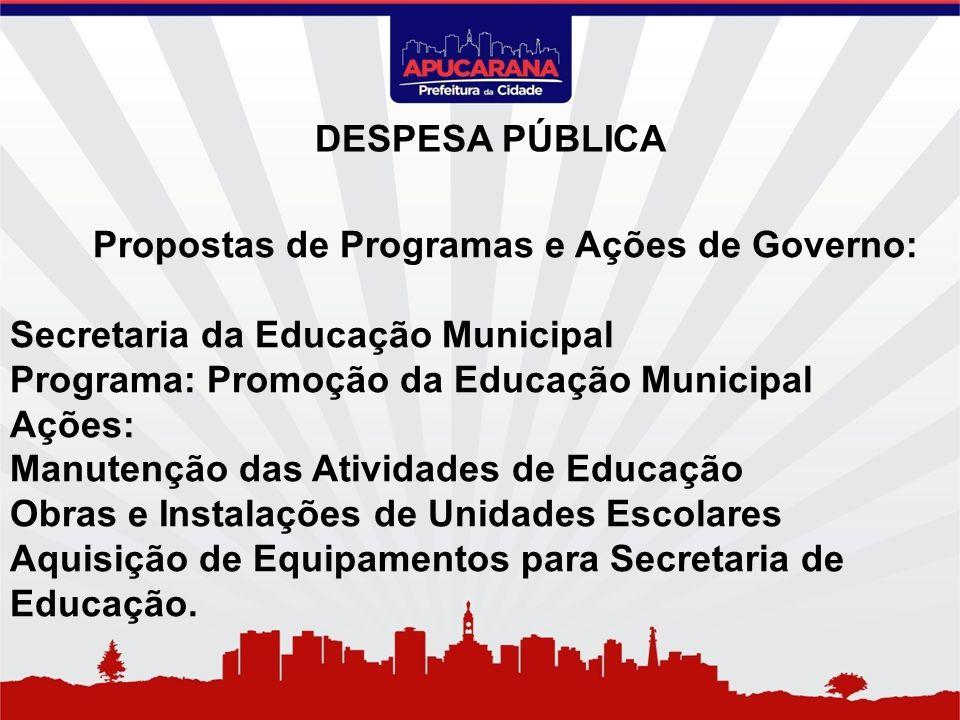Propostas de Programas e Ações de Governo: Secretaria da Educação Municipal Programa: Promoção da Educação Municipal Ações: Manutenção das Atividades