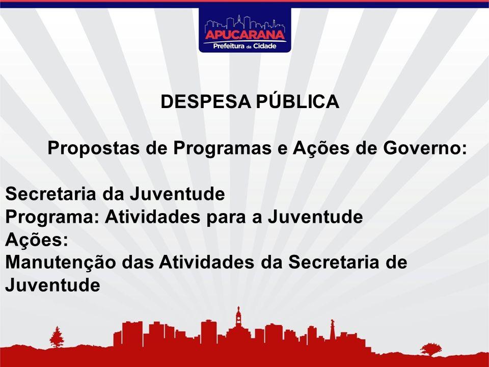 Propostas de Programas e Ações de Governo: Secretaria da Juventude Programa: Atividades para a Juventude Ações: Manutenção das Atividades da Secretari