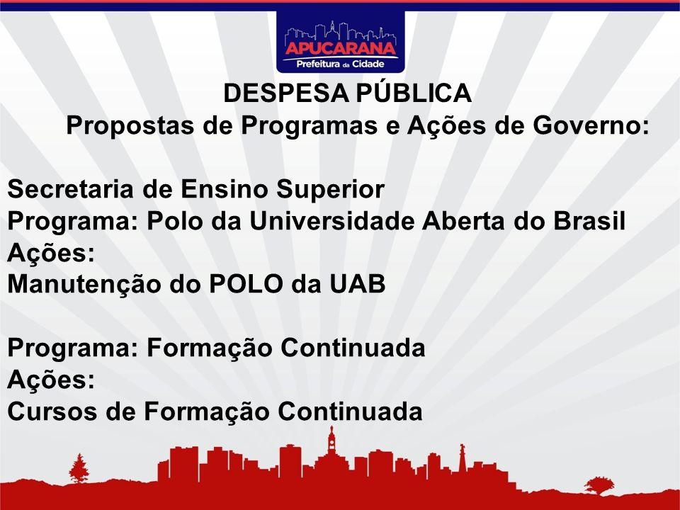 Propostas de Programas e Ações de Governo: Secretaria de Ensino Superior Programa: Polo da Universidade Aberta do Brasil Ações: Manutenção do POLO da