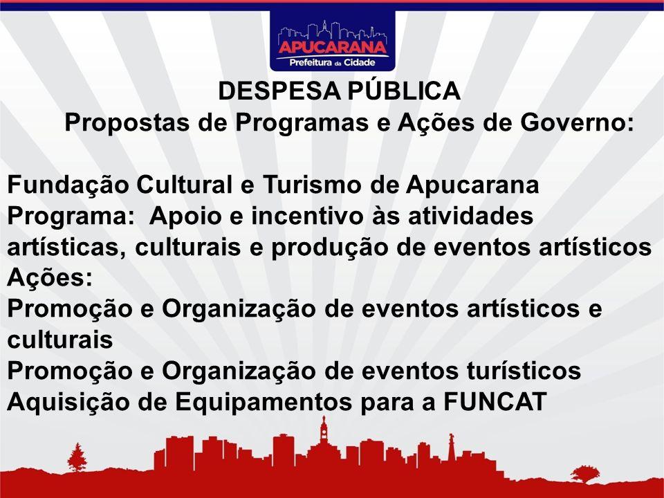 Propostas de Programas e Ações de Governo: Fundação Cultural e Turismo de Apucarana Programa: Apoio e incentivo às atividades artísticas, culturais e