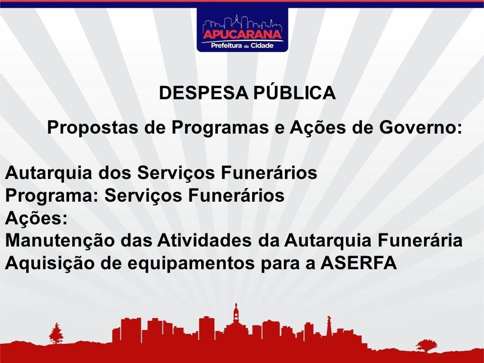 Propostas de Programas e Ações de Governo: Autarquia dos Serviços Funerários Programa: Serviços Funerários Ações: Manutenção das Atividades da Autarqu