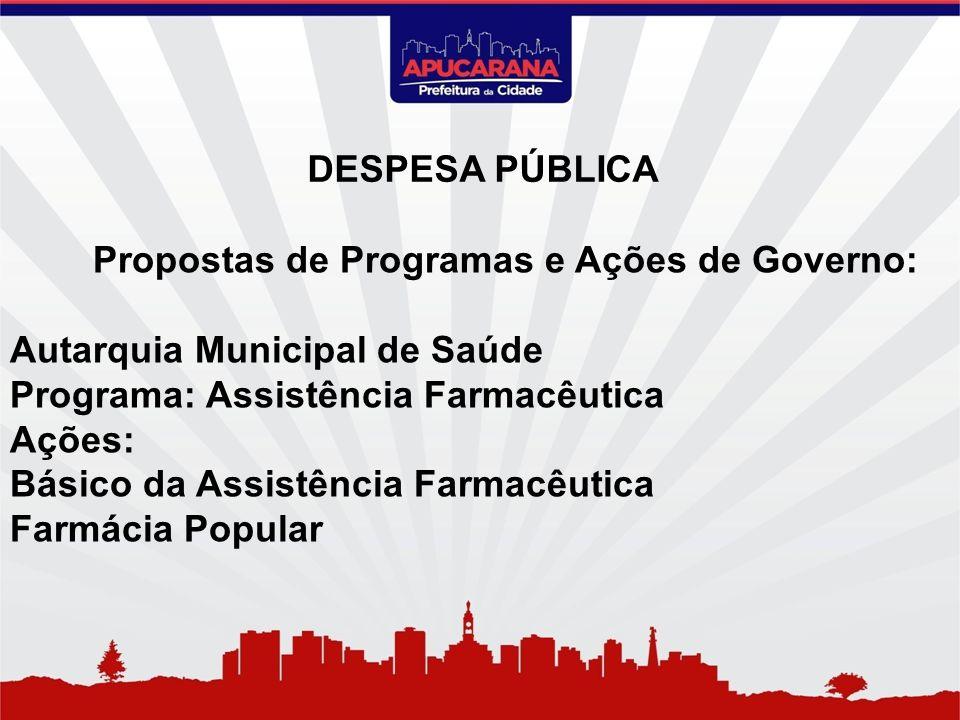 Propostas de Programas e Ações de Governo: Autarquia Municipal de Saúde Programa: Assistência Farmacêutica Ações: Básico da Assistência Farmacêutica F
