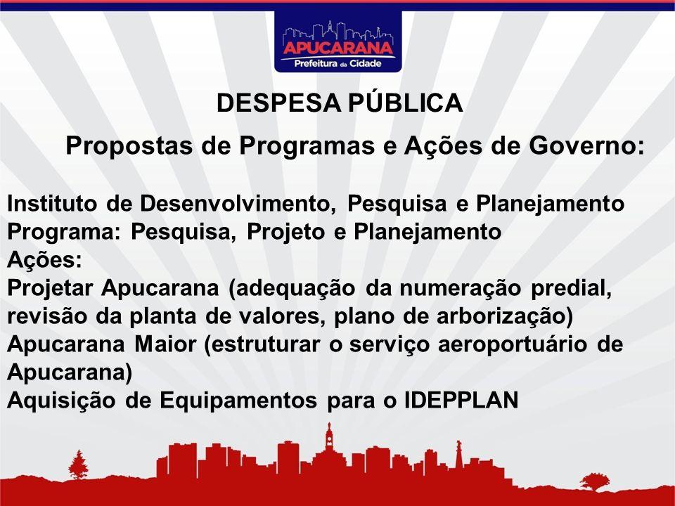 Propostas de Programas e Ações de Governo: Instituto de Desenvolvimento, Pesquisa e Planejamento Programa: Pesquisa, Projeto e Planejamento Ações: Pro