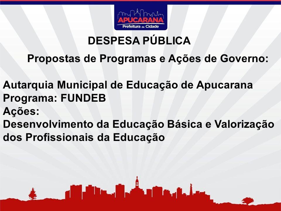 Propostas de Programas e Ações de Governo: Autarquia Municipal de Educação de Apucarana Programa: FUNDEB Ações: Desenvolvimento da Educação Básica e V