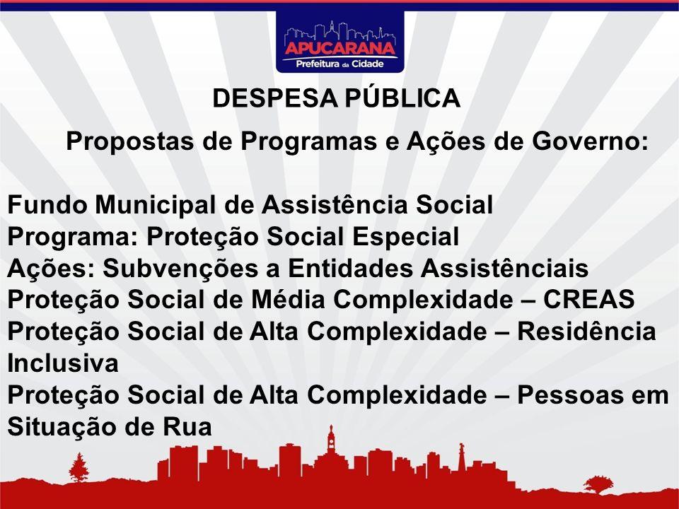 Propostas de Programas e Ações de Governo: Fundo Municipal de Assistência Social Programa: Proteção Social Especial Ações: Subvenções a Entidades Assi
