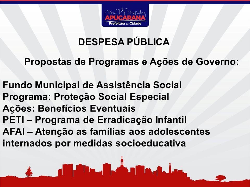 Propostas de Programas e Ações de Governo: Fundo Municipal de Assistência Social Programa: Proteção Social Especial Ações: Benefícios Eventuais PETI –