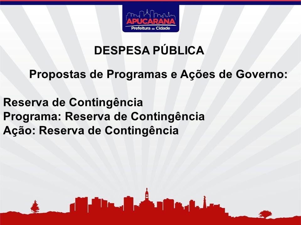 Propostas de Programas e Ações de Governo: Reserva de Contingência Programa: Reserva de Contingência Ação: Reserva de Contingência DESPESA PÚBLICA