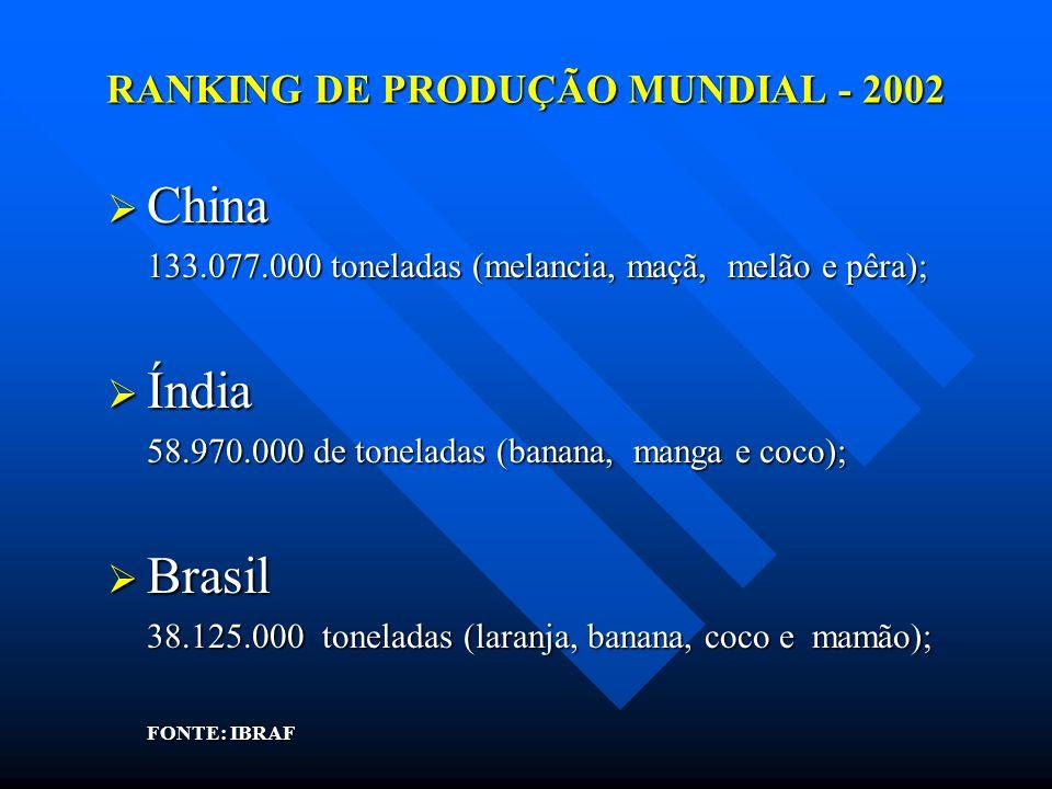 RANKING DE PRODUÇÃO MUNDIAL - 2002 China China 133.077.000 toneladas (melancia, maçã, melão e pêra); Índia Índia 58.970.000 de toneladas (banana, mang