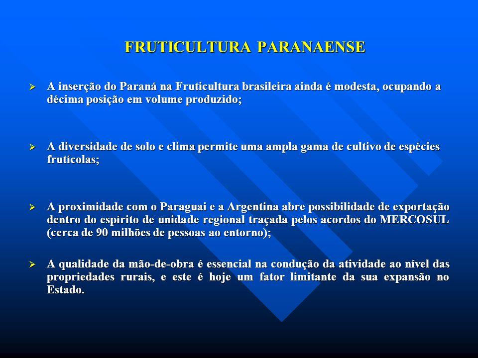 FRUTICULTURA PARANAENSE A inserção do Paraná na Fruticultura brasileira ainda é modesta, ocupando a décima posição em volume produzido; A inserção do
