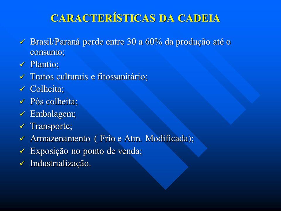 CARACTERÍSTICAS DA CADEIA Brasil/Paraná perde entre 30 a 60% da produção até o consumo; Brasil/Paraná perde entre 30 a 60% da produção até o consumo;