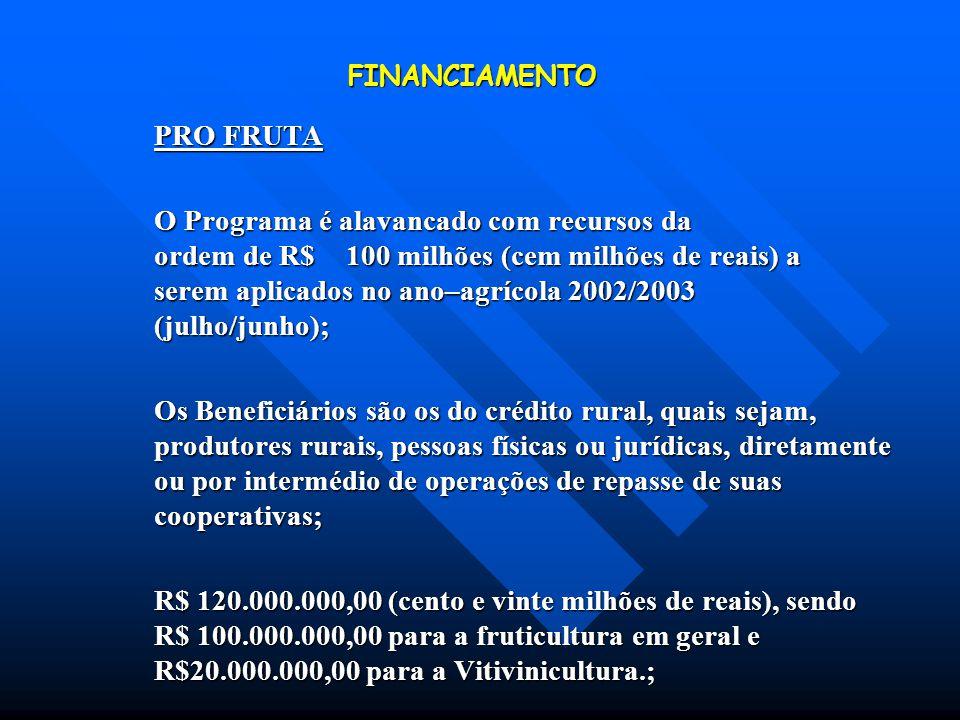 FINANCIAMENTO PRO FRUTA O Programa é alavancado com recursos da ordem de R$ 100 milhões (cem milhões de reais) a serem aplicados no ano–agrícola 2002/