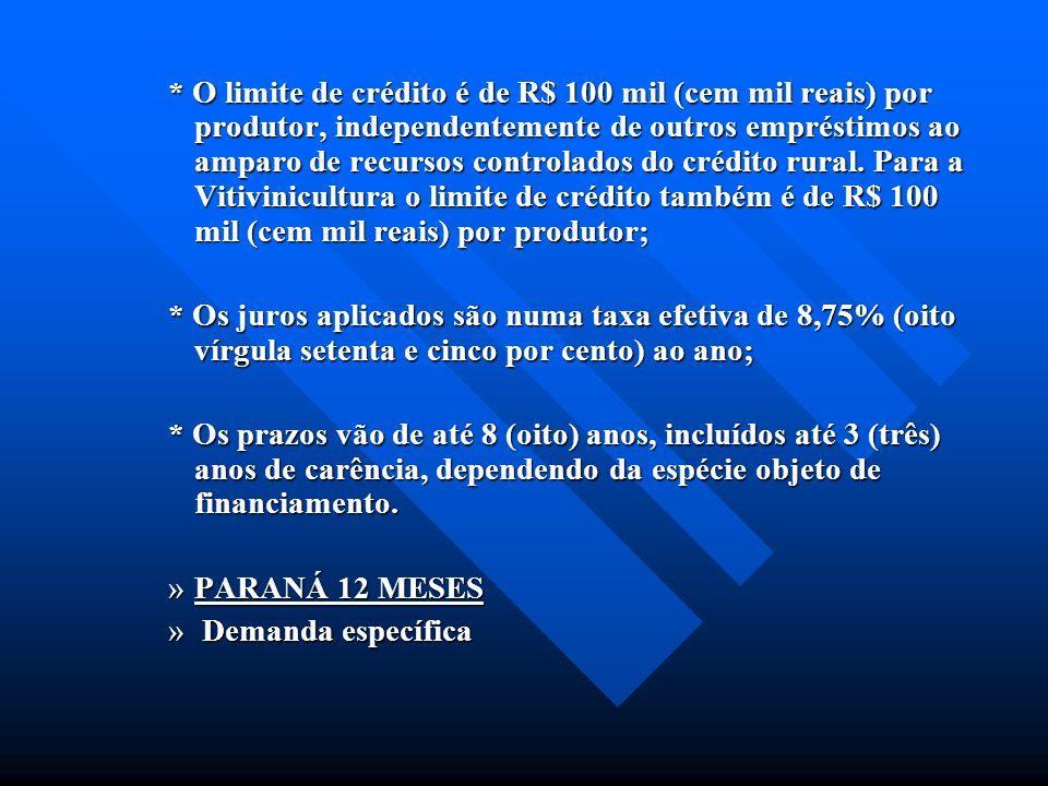* O limite de crédito é de R$ 100 mil (cem mil reais) por produtor, independentemente de outros empréstimos ao amparo de recursos controlados do crédi