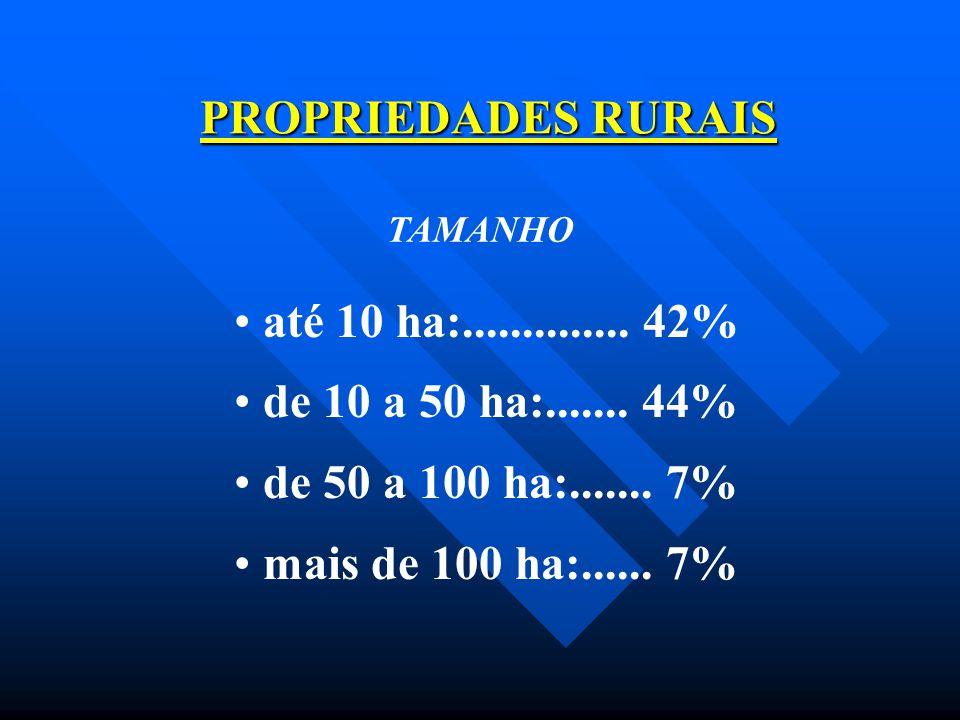 PROPRIEDADES RURAIS TAMANHO até 10 ha:.............. 42% de 10 a 50 ha:....... 44% de 50 a 100 ha:....... 7% mais de 100 ha:...... 7%