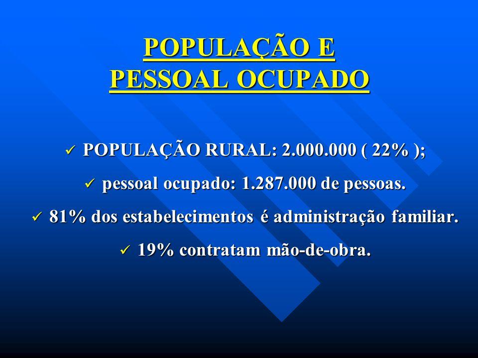 POPULAÇÃO E PESSOAL OCUPADO POPULAÇÃO RURAL: 2.000.000 ( 22% ); POPULAÇÃO RURAL: 2.000.000 ( 22% ); pessoal ocupado: 1.287.000 de pessoas. pessoal ocu