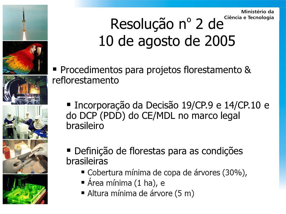 Resolução n º 2 de 10 de agosto de 2005 Procedimentos para projetos florestamento & reflorestamento Incorporação da Decisão 19/CP.9 e 14/CP.10 e do DC