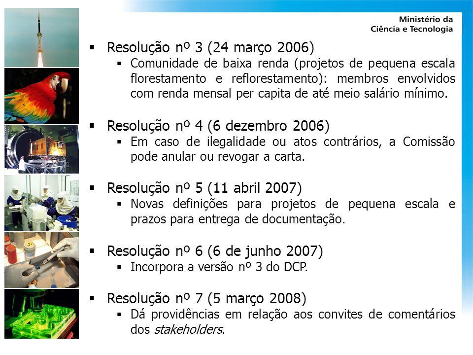 Resolução nº 3 (24 março 2006) Comunidade de baixa renda (projetos de pequena escala florestamento e reflorestamento): membros envolvidos com renda me