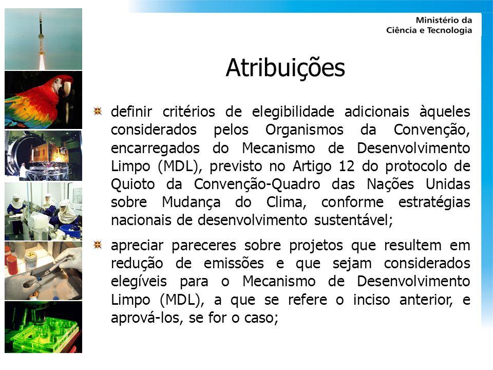 Atribuições definir critérios de elegibilidade adicionais àqueles considerados pelos Organismos da Convenção, encarregados do Mecanismo de Desenvolvim