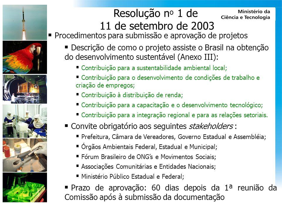 Resolução n º 2 de 10 de agosto de 2005 Procedimentos para projetos florestamento & reflorestamento Incorporação da Decisão 19/CP.9 e 14/CP.10 e do DCP (PDD) do CE/MDL no marco legal brasileiro Definição de florestas para as condições brasileiras Cobertura mínima de copa de árvores (30%), Área mínima (1 ha), e Altura mínima de árvore (5 m)