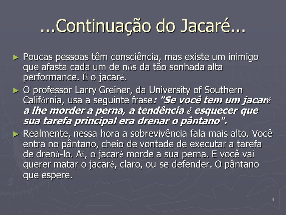 3...Continuação do Jacaré... Poucas pessoas têm consciência, mas existe um inimigo que afasta cada um de n ó s da tão sonhada alta performance. É o ja