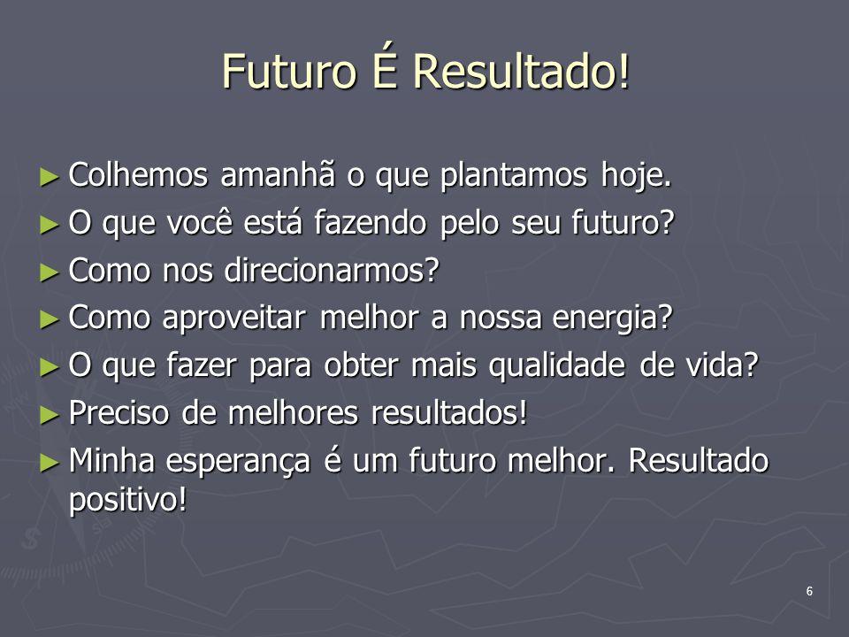 6 Futuro É Resultado! Colhemos amanhã o que plantamos hoje. Colhemos amanhã o que plantamos hoje. O que você está fazendo pelo seu futuro? O que você