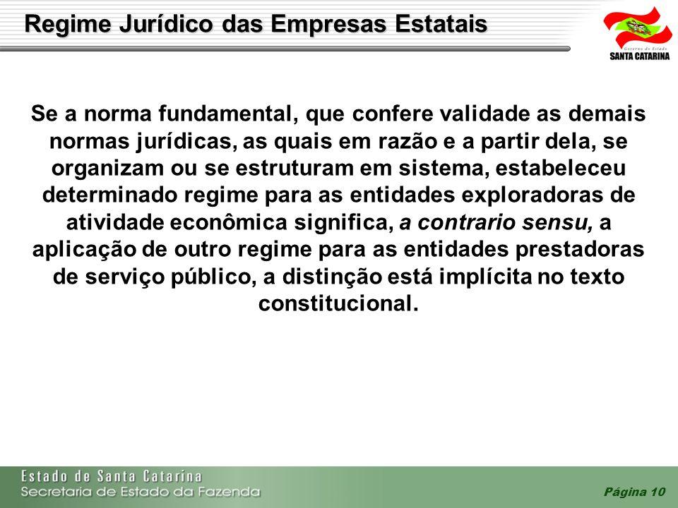 Página 10 Regime Jurídico das Empresas Estatais Se a norma fundamental, que confere validade as demais normas jurídicas, as quais em razão e a partir