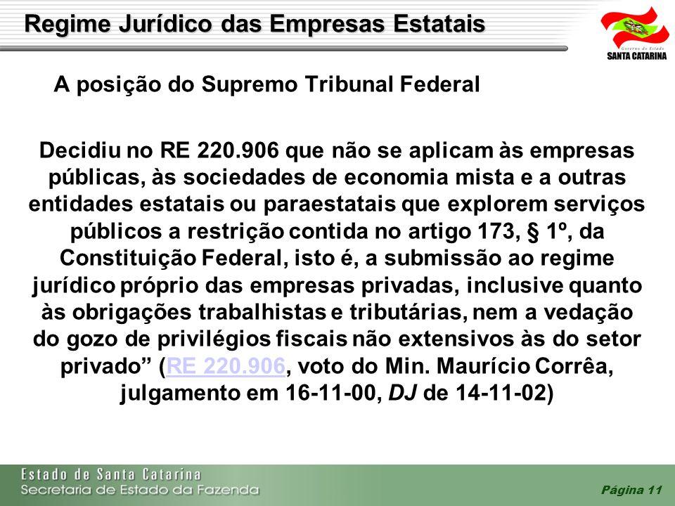 Página 11 A posição do Supremo Tribunal Federal Decidiu no RE 220.906 que não se aplicam às empresas públicas, às sociedades de economia mista e a out