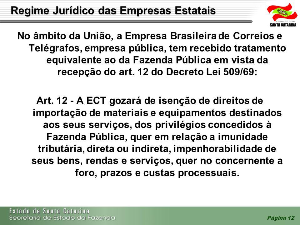 Página 12 Regime Jurídico das Empresas Estatais No âmbito da União, a Empresa Brasileira de Correios e Telégrafos, empresa pública, tem recebido trata