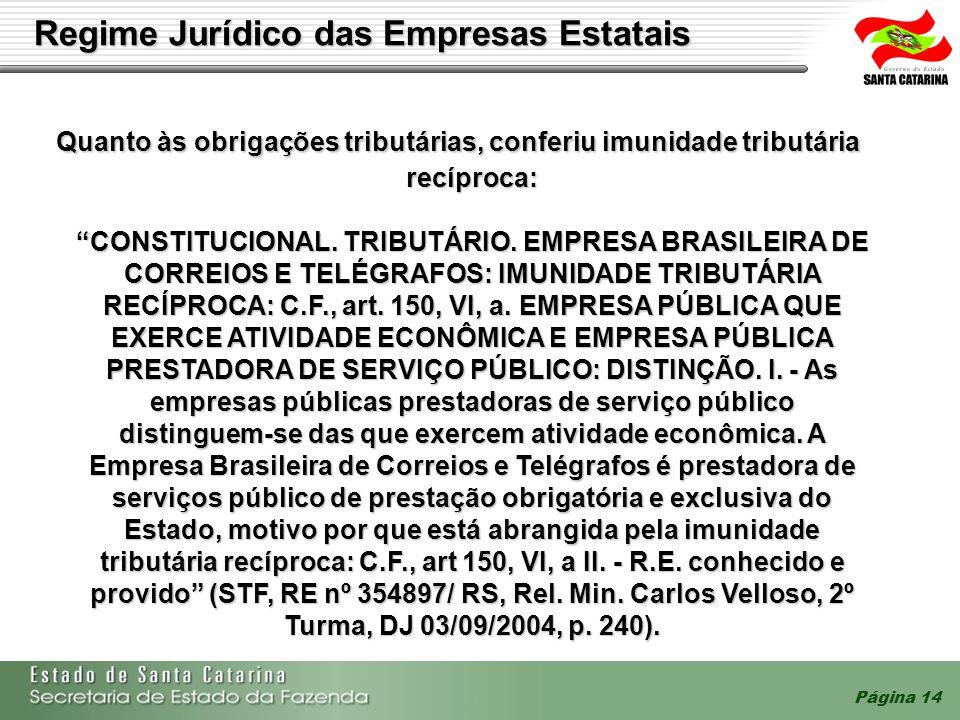 Página 14 Regime Jurídico das Empresas Estatais Quanto às obrigações tributárias, conferiu imunidade tributária recíproca: Quanto às obrigações tribut