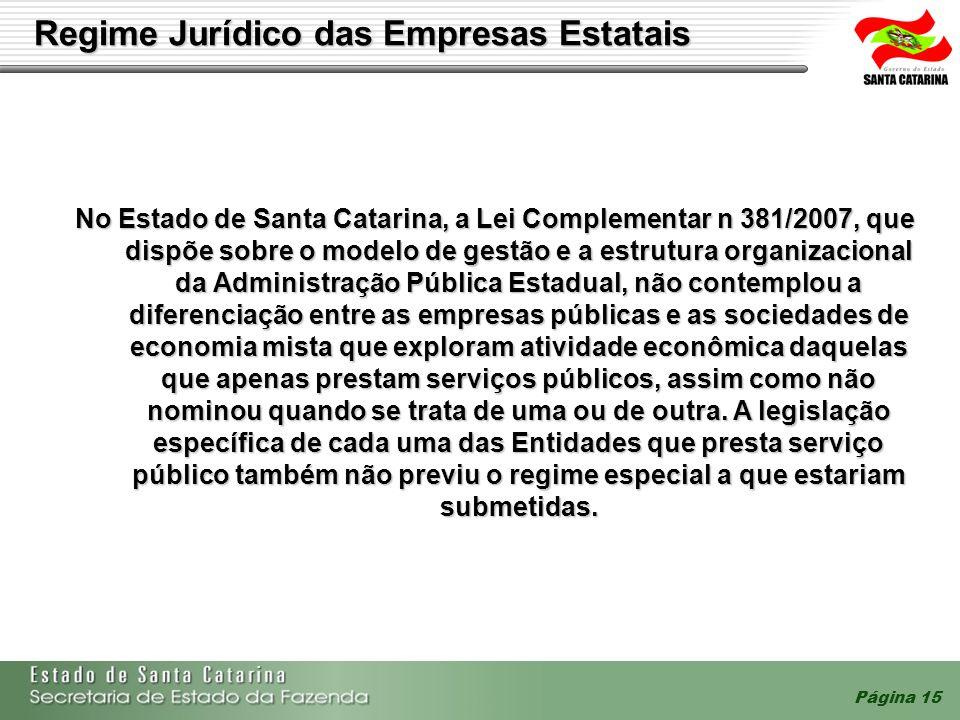 Página 15 Regime Jurídico das Empresas Estatais No Estado de Santa Catarina, a Lei Complementar n 381/2007, que dispõe sobre o modelo de gestão e a es