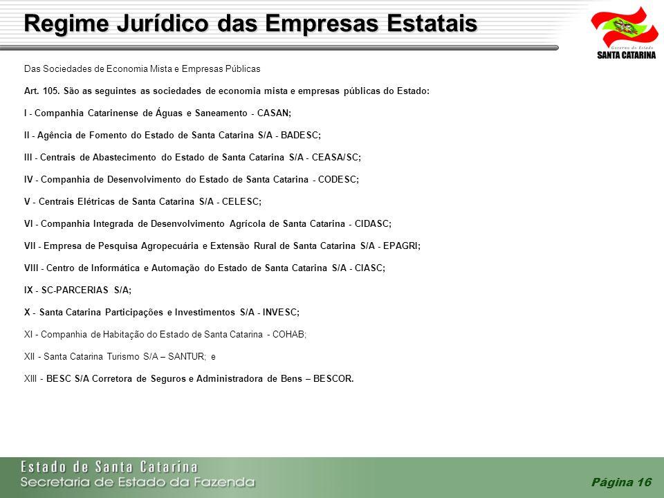 Página 16 Regime Jurídico das Empresas Estatais Das Sociedades de Economia Mista e Empresas Públicas Art. 105. São as seguintes as sociedades de econo