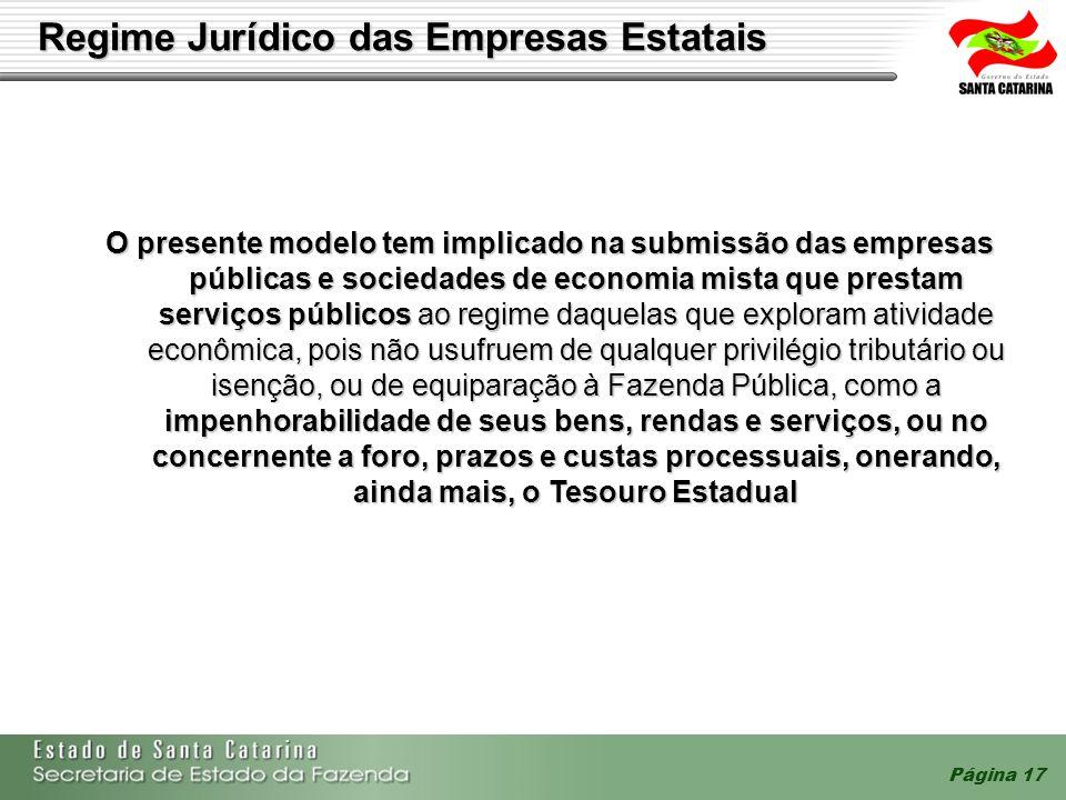 Página 17 Regime Jurídico das Empresas Estatais O presente modelo tem implicado na submissão das empresas públicas e sociedades de economia mista que