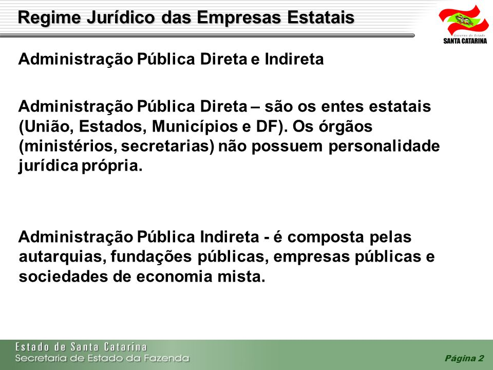 Página 2 Regime Jurídico das Empresas Estatais Administração Pública Direta e Indireta Administração Pública Direta – são os entes estatais (União, Es