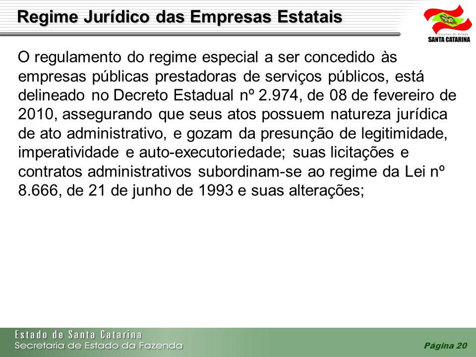 Página 20 Regime Jurídico das Empresas Estatais O regulamento do regime especial a ser concedido às empresas públicas prestadoras de serviços públicos