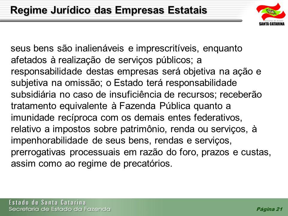 Página 21 Regime Jurídico das Empresas Estatais seus bens são inalienáveis e imprescritíveis, enquanto afetados à realização de serviços públicos; a r