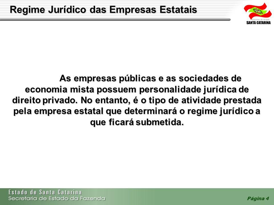 Página 4 Regime Jurídico das Empresas Estatais As empresas públicas e as sociedades de economia mista possuem personalidade jurídica de direito privad