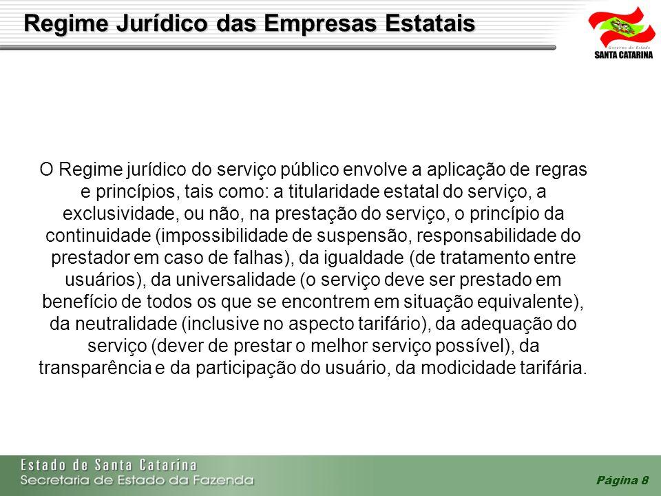 Página 8 Regime Jurídico das Empresas Estatais O Regime jurídico do serviço público envolve a aplicação de regras e princípios, tais como: a titularid