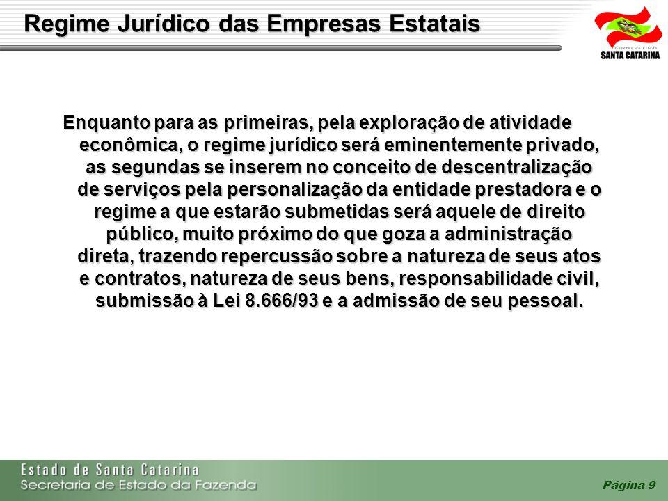 Página 9 Regime Jurídico das Empresas Estatais Enquanto para as primeiras, pela exploração de atividade econômica, o regime jurídico será eminentement
