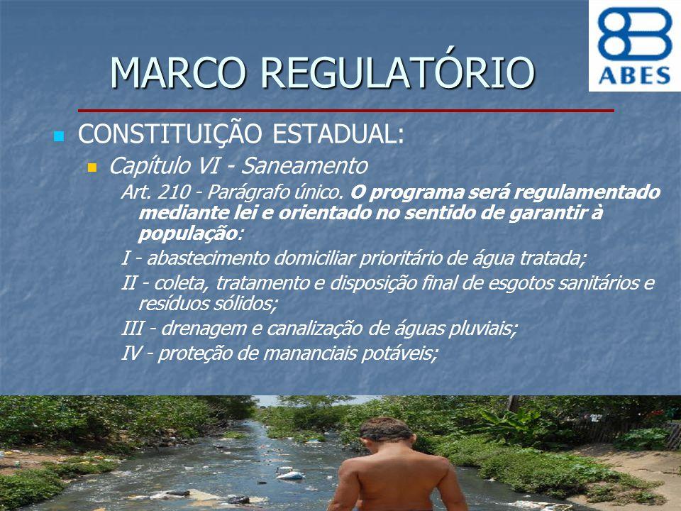 MARCO REGULATÓRIO CONSTITUIÇÃO ESTADUAL: Capítulo VI - Saneamento Art. 210 - Parágrafo único. O programa será regulamentado mediante lei e orientado n
