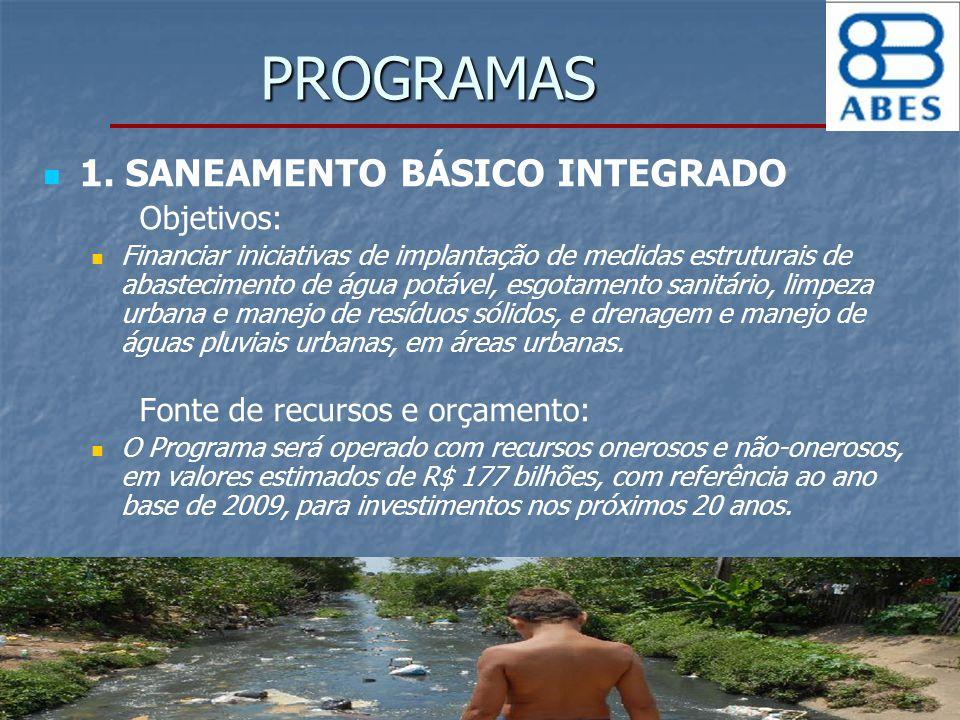 PROGRAMAS 1. SANEAMENTO BÁSICO INTEGRADO Objetivos: Financiar iniciativas de implantação de medidas estruturais de abastecimento de água potável, esgo