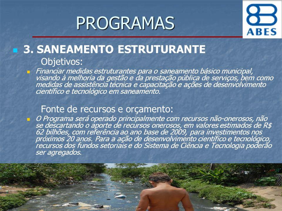 PROGRAMAS 3. SANEAMENTO ESTRUTURANTE Objetivos: Financiar medidas estruturantes para o saneamento básico municipal, visando à melhoria da gestão e da