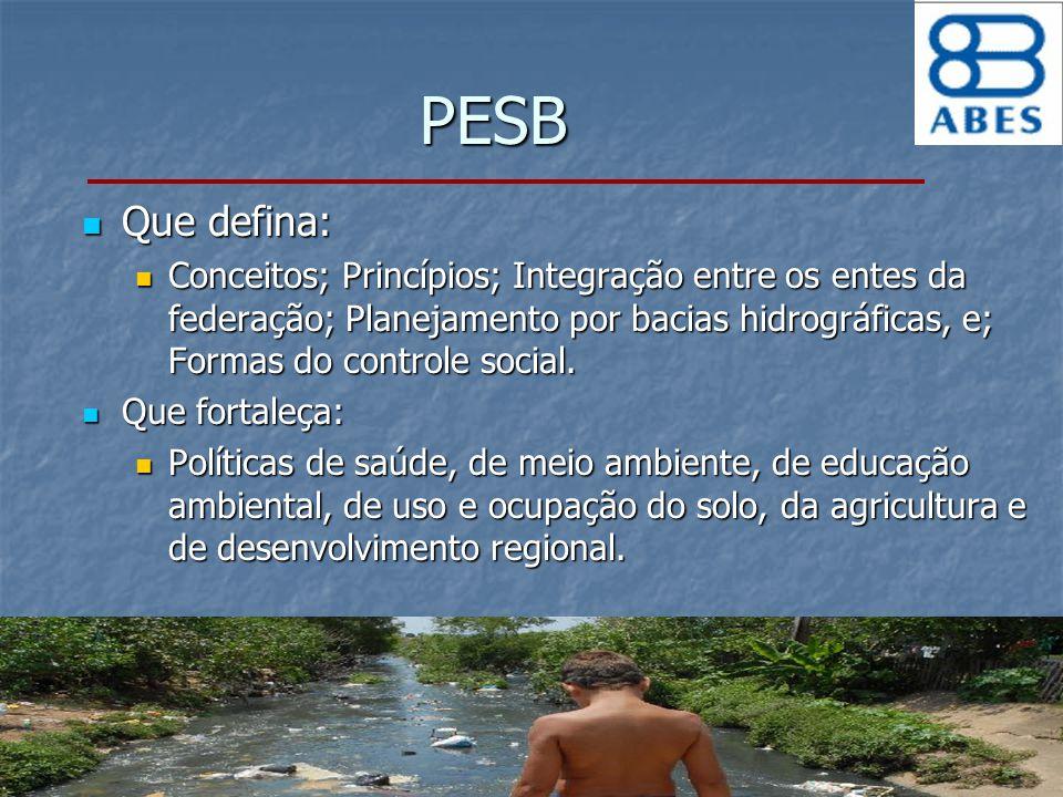 PESB Que defina: Que defina: Conceitos; Princípios; Integração entre os entes da federação; Planejamento por bacias hidrográficas, e; Formas do contro