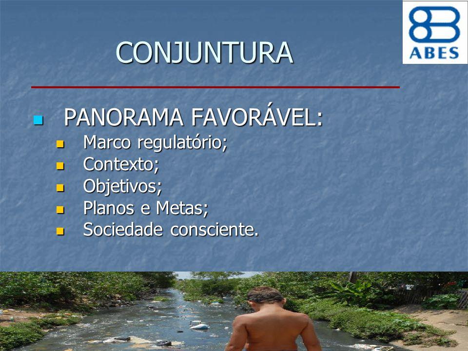 CONJUNTURA PANORAMA FAVORÁVEL: PANORAMA FAVORÁVEL: Marco regulatório; Marco regulatório; Contexto; Contexto; Objetivos; Objetivos; Planos e Metas; Pla