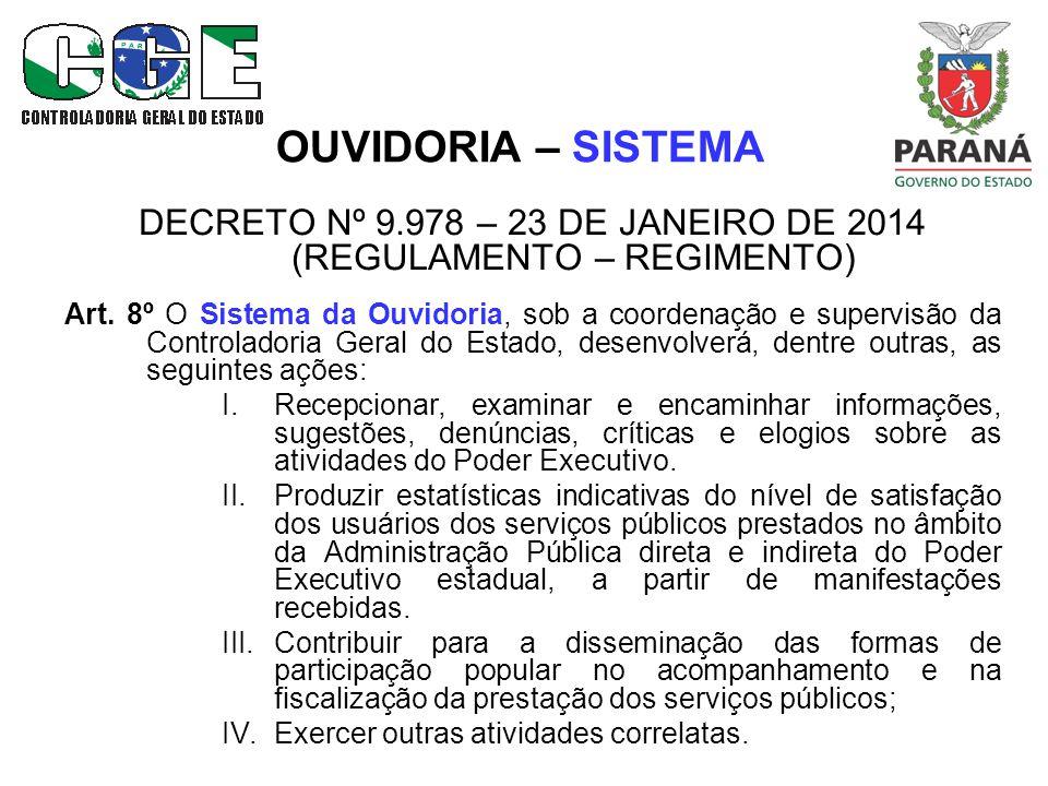 OUVIDORIA – SISTEMA DECRETO Nº 9.978 – 23 DE JANEIRO DE 2014 (REGULAMENTO – REGIMENTO) Art.