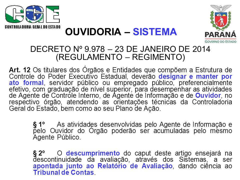 OUVIDORIA – RESULTADOS Resultado geral dos atendimentos registrados no Sistema Integrado para Gestão de Ouvidorias – SIGO, no ano de 2013.