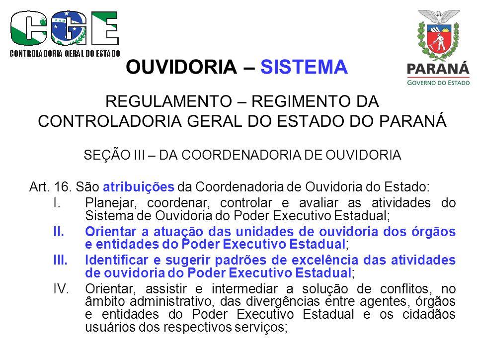 OUVIDORIA – SISTEMA REGULAMENTO – REGIMENTO DA CONTROLADORIA GERAL DO ESTADO DO PARANÁ SEÇÃO III – DA COORDENADORIA DE OUVIDORIA Art.