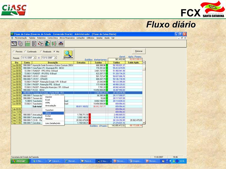 FCX Fluxo diário