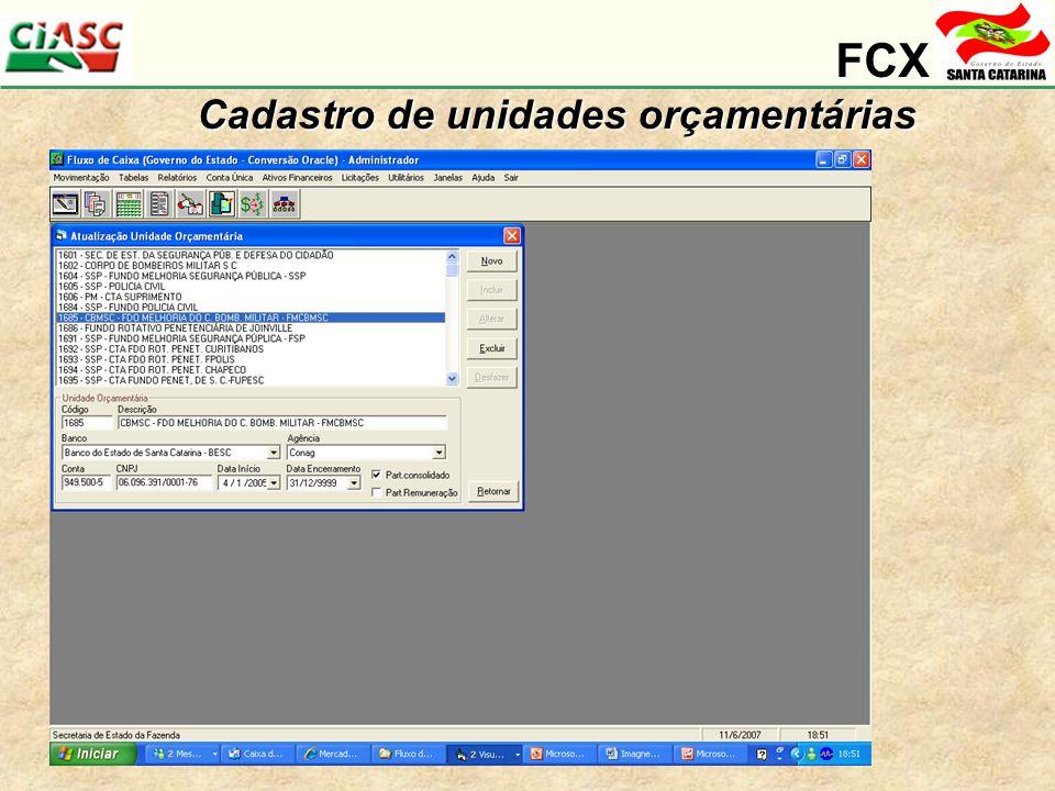 FCX Cadastro de unidades orçamentárias