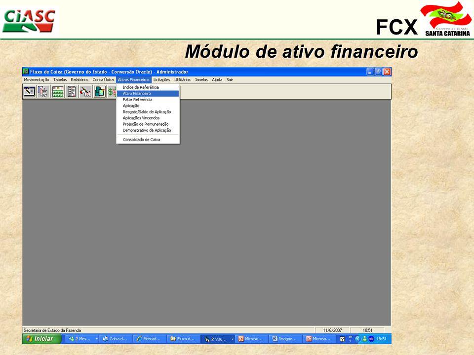 FCX Módulo de ativo financeiro